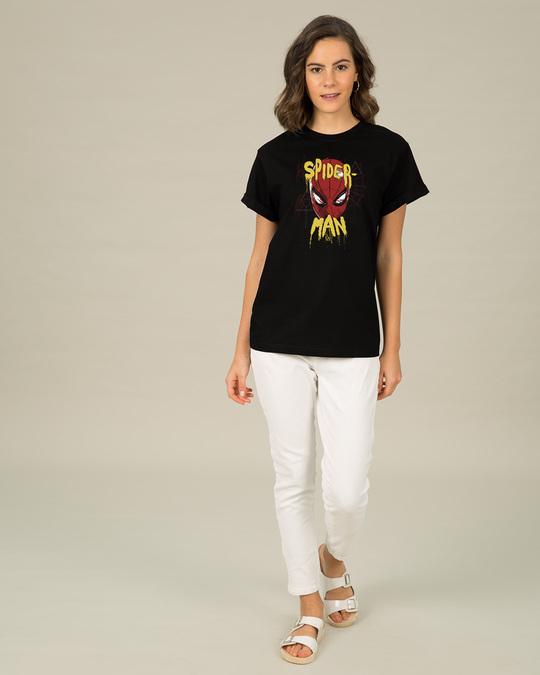 Shop Spider Spray Paint Boyfriend T-Shirt (FFHL)-Full