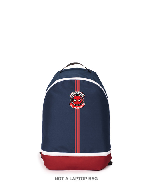 Shop Spiderman Badge Printed Small Backpacks (FFHL) Blue-Red-Front