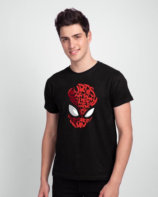Shop Spiderman Face Half Sleeve T-Shirt (AVL) Black-Front