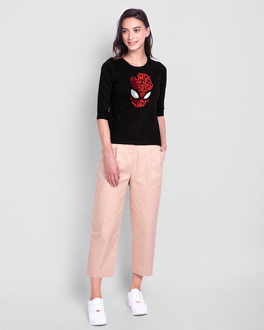 Shop Spiderman Face Round Neck 3/4th Sleeve T-Shirt (AVL) Black-Full