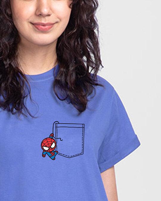 Shop Spidey Pocket Boyfriend T-Shirt (AVL)-Front
