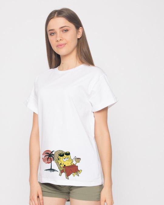 Shop Spongebob Beach Chilling Boyfriend T-Shirt (SBL)-Back