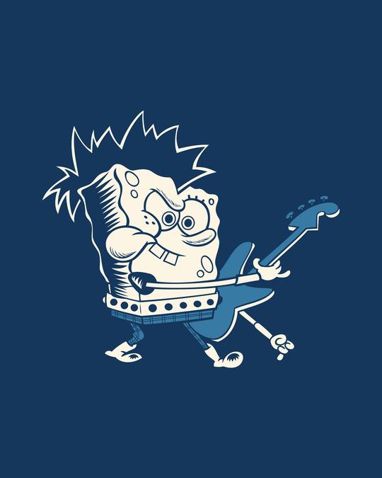 Shop Spongebob Guitar Round Neck 3/4th Sleeve T-Shirt (SBL)