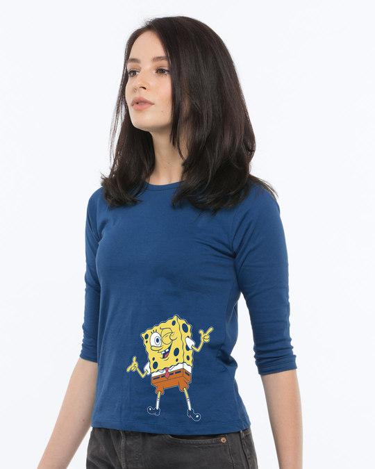 Shop Spongebob Whazzup Round Neck 3/4th Sleeve T-Shirt (SBL)-Back