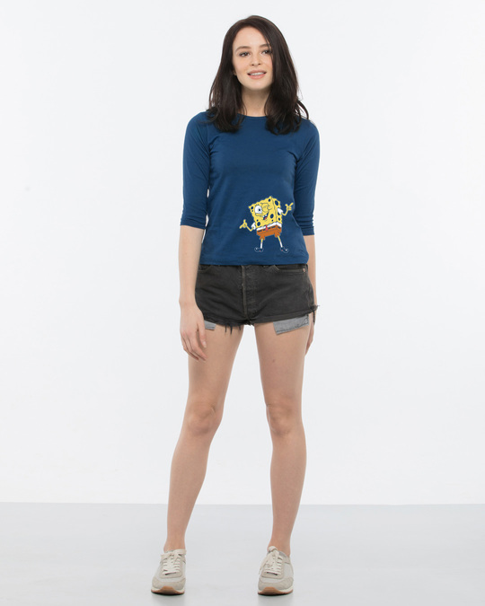 Shop Spongebob Whazzup Round Neck 3/4th Sleeve T-Shirt (SBL)-Full