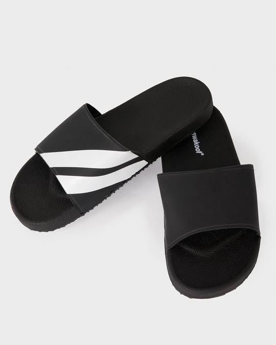 Shop Sporty Black Sliders-Back