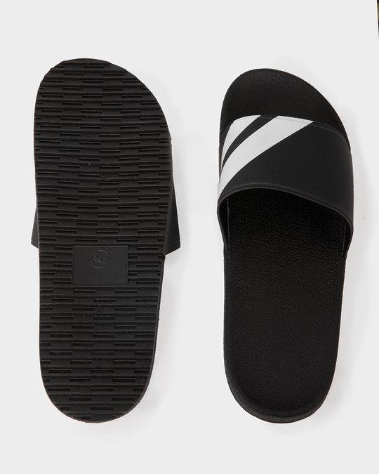 Shop Sporty Black Sliders-Full