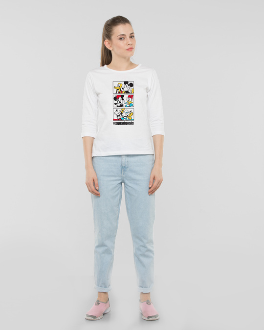 Shop Squad Goals Mickey & Friends Round Neck 3/4th Sleeve T-Shirt (DL)-Full