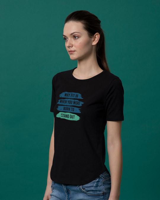 Shop Stand Out Brush Basic Round Hem T-Shirt-Back