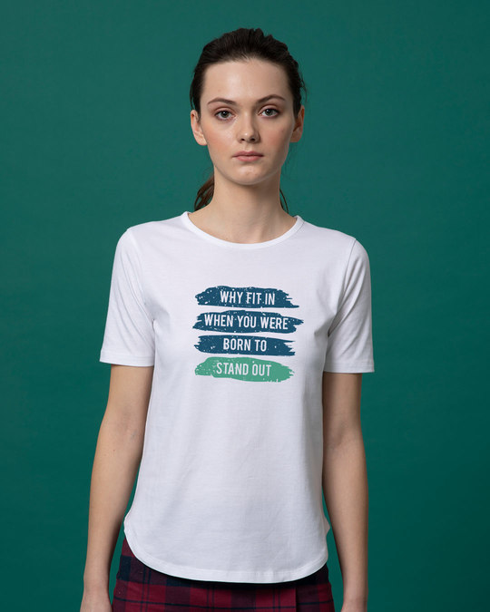 Shop Stand Out Brush Basic Round Hem T-Shirt-Front