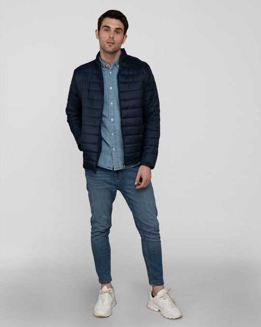 Shop Star Night Blue Plain Puffer Jacket-Full