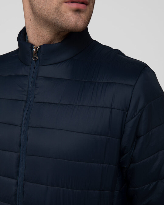 Shop Star Night Blue Plain Puffer Jacket
