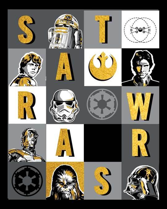 Shop Star Wars Blocks Round Neck Varsity H/S T-Shirt (SWL) Black-Full