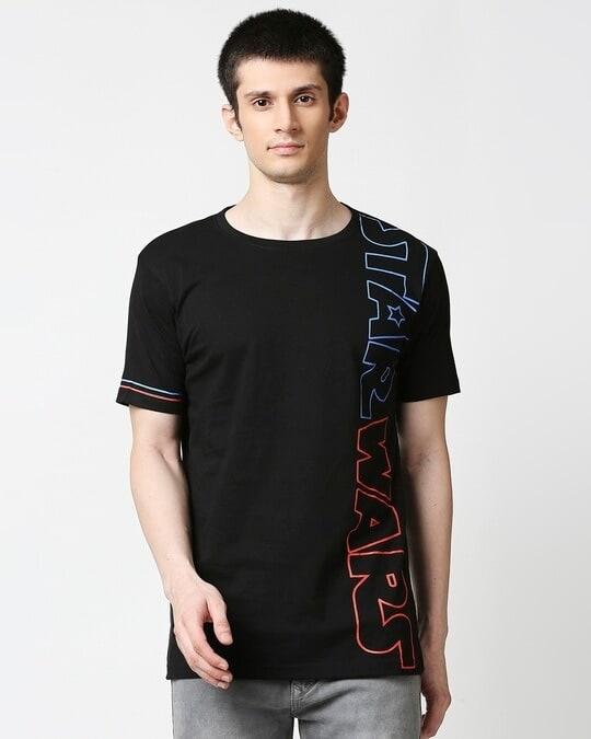 Shop Star Wars Half Sleeves Hperprint T-Shirt (SWL) Black-Front