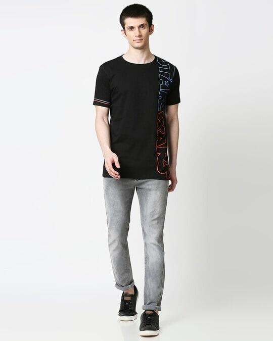 Shop Star Wars Half Sleeves Hperprint T-Shirt (SWL) Black-Full
