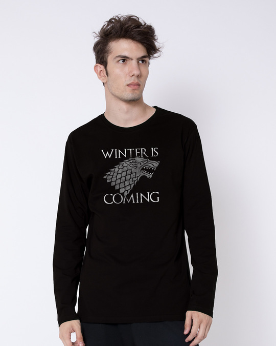 Shop Stark Winter Is Coming Full Sleeve T-Shirt (GTL)-Front