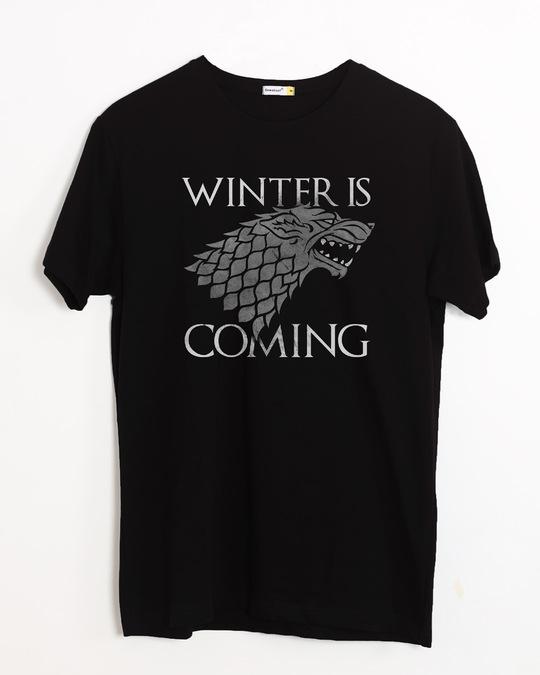 Shop Stark Winter Is Coming Half Sleeve T-Shirt (GTL)-Front