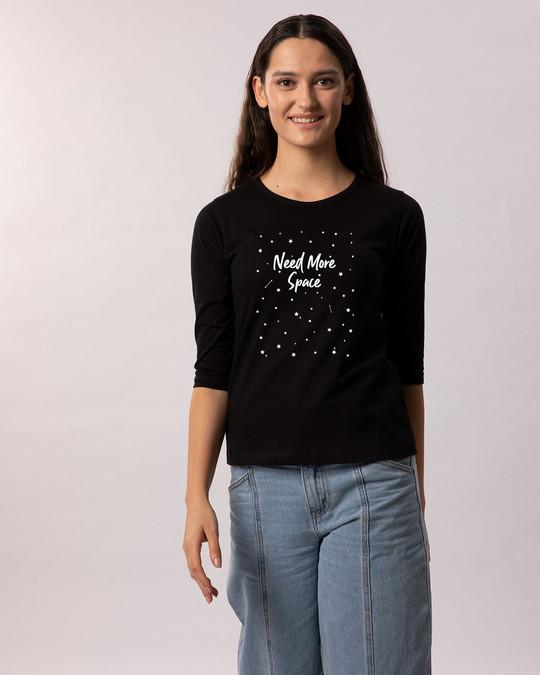 Shop Starry Space Glow In Dark Round Neck 3/4th Sleeve T-Shirt -Design