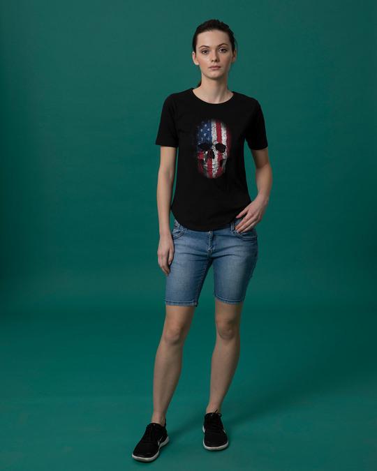 Shop Stars And Stripes Skull Basic Round Hem T-Shirt