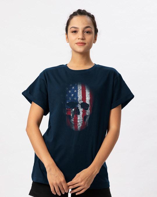 Shop Stars And Stripes Skull Boyfriend T-Shirt-Front