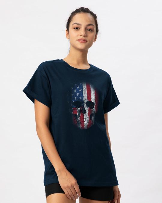 Shop Stars And Stripes Skull Boyfriend T-Shirt-Back