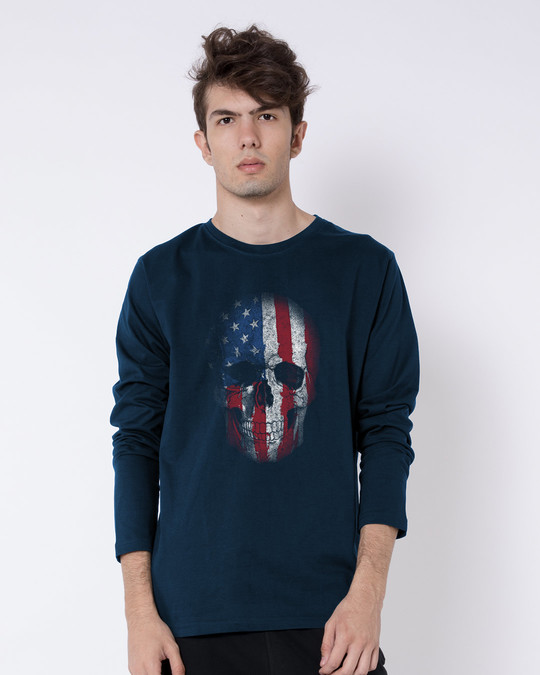 Shop Stars And Stripes Skull Full Sleeve T-Shirt-Front