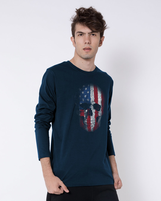 Shop Stars And Stripes Skull Full Sleeve T-Shirt-Back