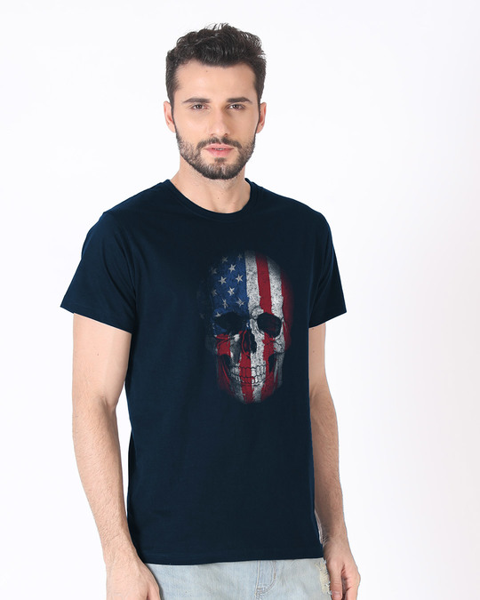 Shop Stars And Stripes Skull Half Sleeve T-Shirt-Full