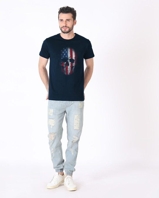 Shop Stars And Stripes Skull Half Sleeve T-Shirt