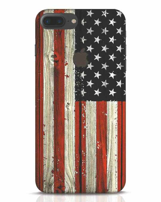 Shop Stars And Stripes Wood iPhone 7 Plus Logo Cut Mobile Cover-Front