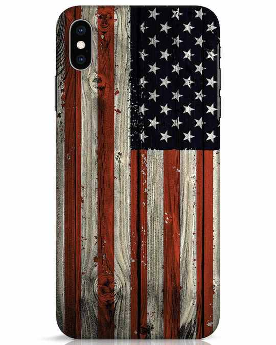 Shop Stars And Stripes Wood iPhone XS Max Mobile Cover-Front