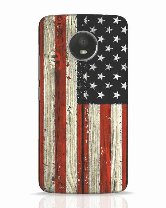 Shop Stars And Stripes Wood Moto E4 Plus Mobile Cover-Front