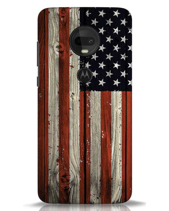 Shop Stars And Stripes Wood Moto G7 Mobile Cover-Front