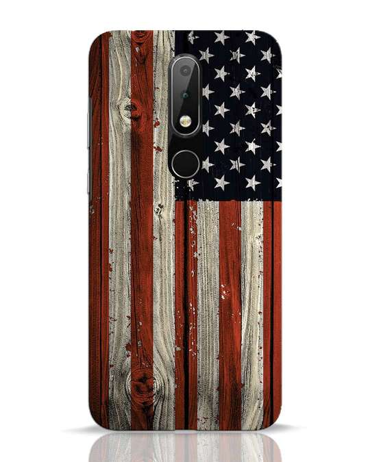 Shop Stars And Stripes Wood Nokia 6.1 Plus Mobile Cover-Front