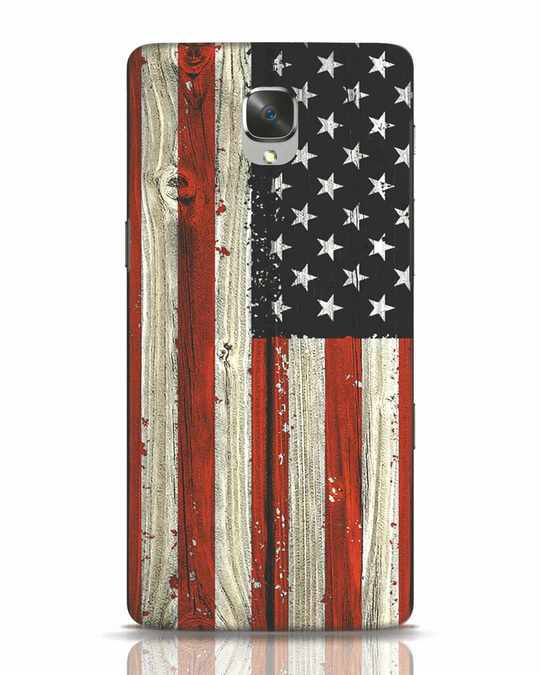 Shop Stars And Stripes Wood OnePlus 3 Mobile Cover-Front