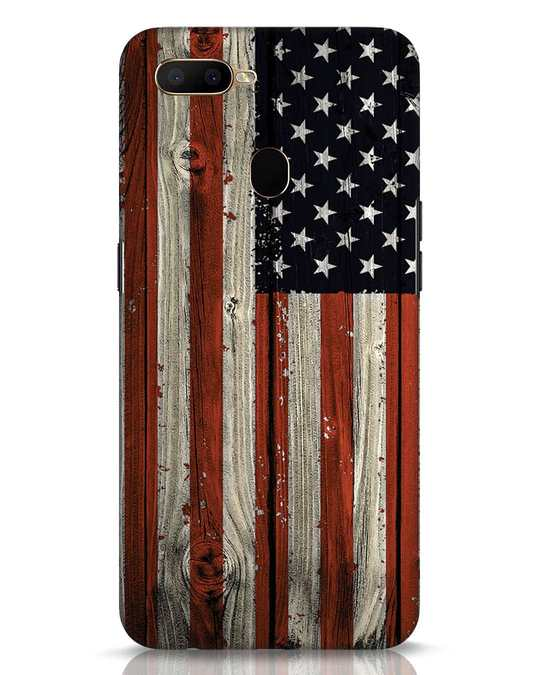 Shop Stars And Stripes Wood Oppo A5s Mobile Cover-Front