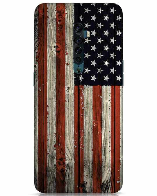 Shop Stars And Stripes Wood Oppo Reno 2 Mobile Cover-Front
