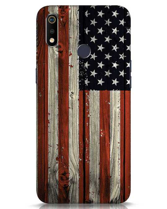 Shop Stars And Stripes Wood Realme 3i Mobile Cover-Front