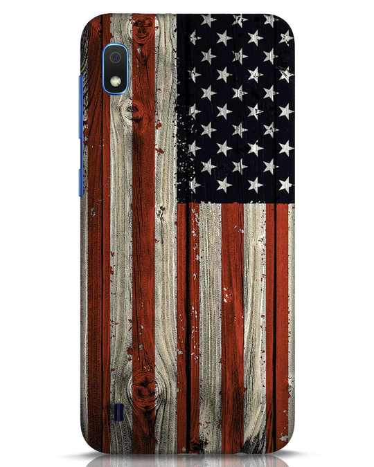 Shop Stars And Stripes Wood Samsung Galaxy A10 Mobile Cover-Front