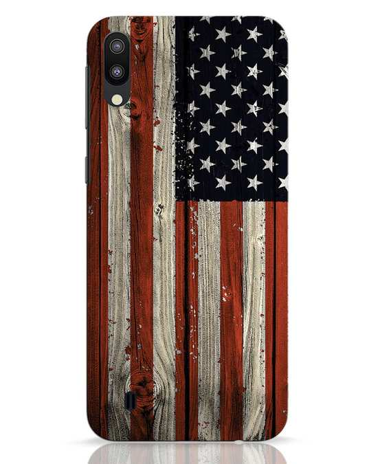 Shop Stars And Stripes Wood Samsung Galaxy M10 Mobile Cover-Front