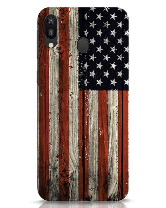 Shop Stars And Stripes Wood Samsung Galaxy M20 Mobile Cover-Front