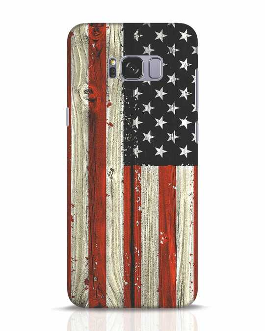 Shop Stars And Stripes Wood Samsung Galaxy S8 Plus Mobile Cover-Front