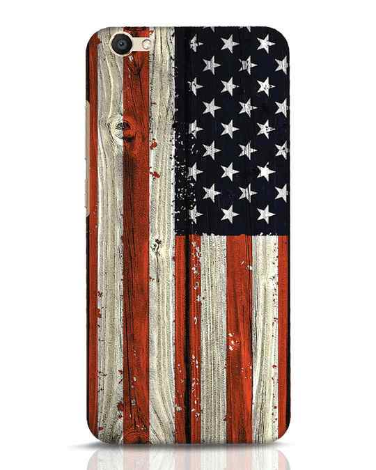 Shop Stars And Stripes Wood Vivo V5 Mobile Cover-Front