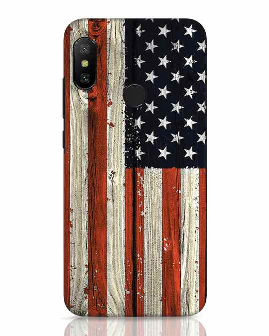 Shop Stars And Stripes Wood Xiaomi Redmi 6 Pro Mobile Cover-Front