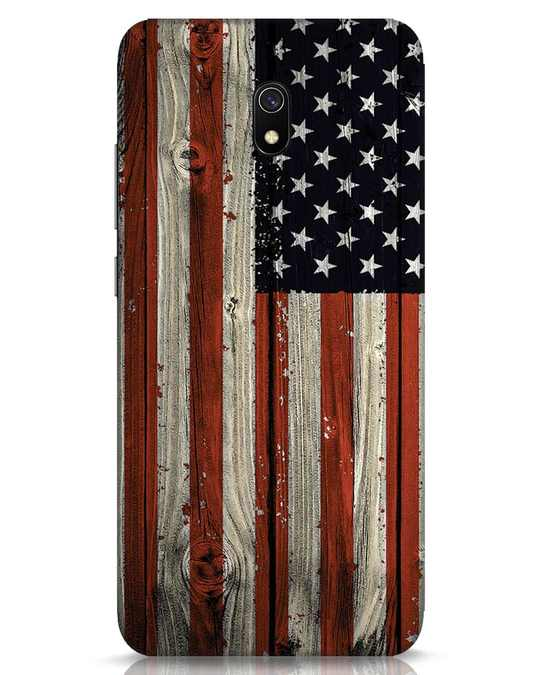 Shop Stars And Stripes Wood Xiaomi Redmi 8A Mobile Cover-Front