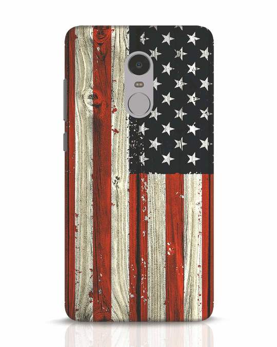 Shop Stars And Stripes Wood Xiaomi Redmi Note 4 Mobile Cover-Front