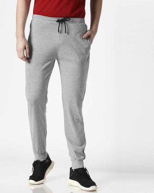 Shop Status Quo Men's Grey Melange Joggers-Front