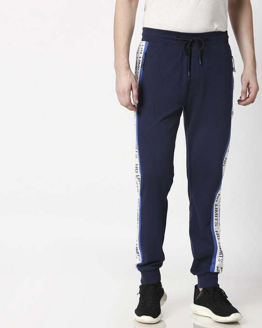Shop Navy Plain Joggers-Front