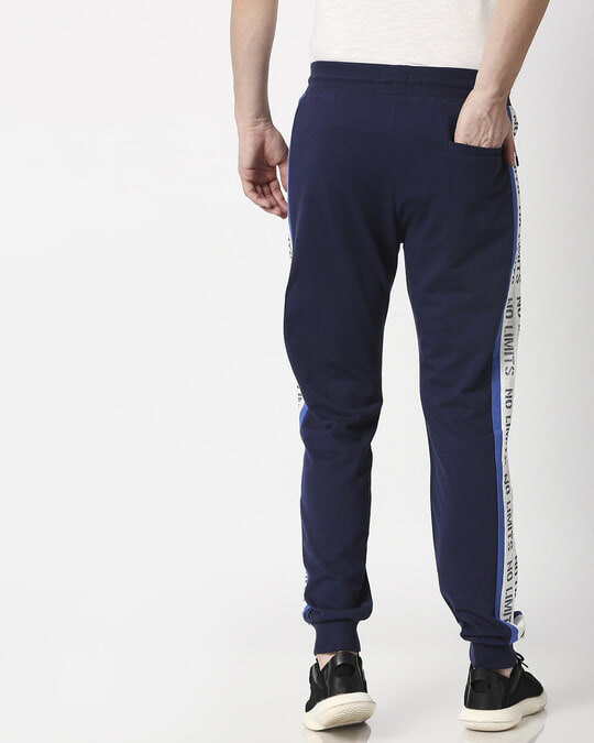 Shop Navy Plain Joggers-Full
