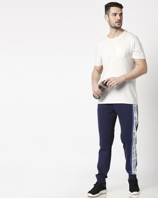 Shop Navy Plain Joggers